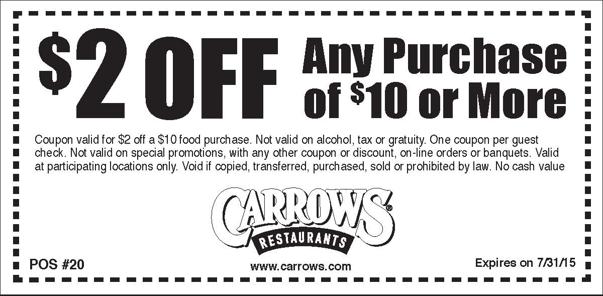 Carrows Coupon August 2017 $2 off $10 at Carrows restaurants