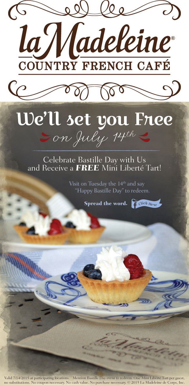 la Madeleine Coupon March 2018 Free tart Tuesday at la Madeleine country cafe