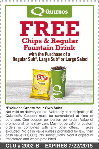 Quiznos Coupon May 2017 Free chips & drink with your sub or salad at Quiznos