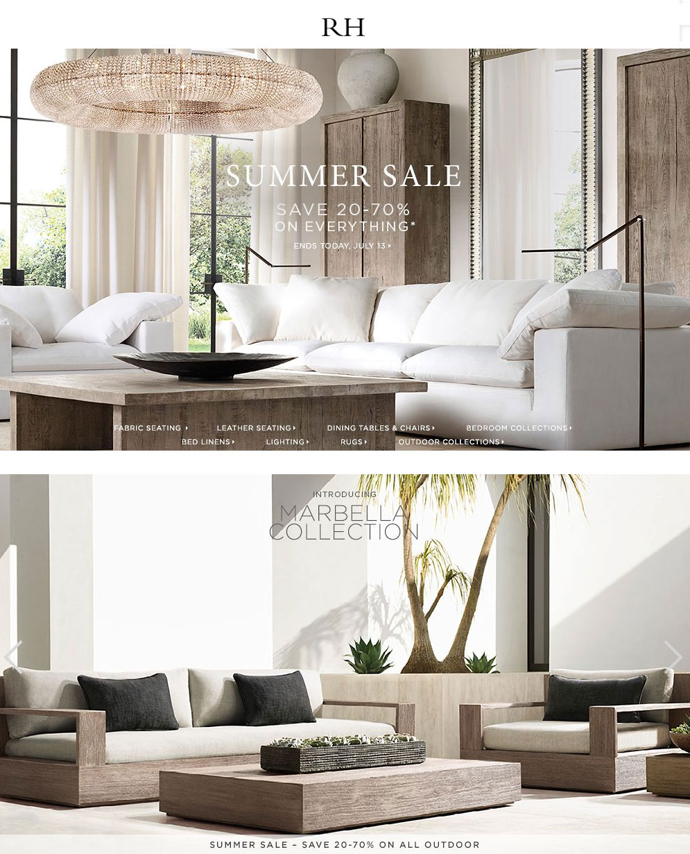 Restoration Hardware Coupon June 2017 20-70% off everything today at Restoration Hardware, ditto online