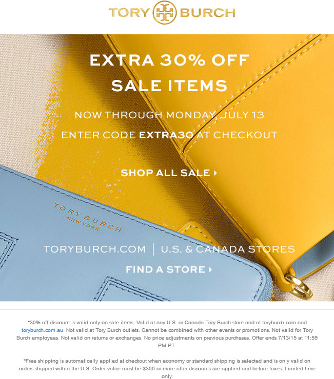 Tory Burch Coupon September 2017 Extra 30% off sale items today at Tory Burch, or online via promo code EXTRA30