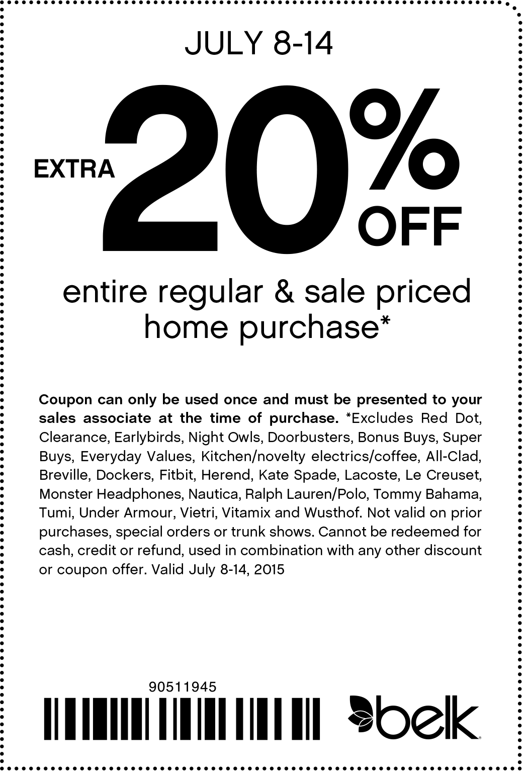 Belk Coupon July 2017 Extra 20% off home furnishings today at Belk