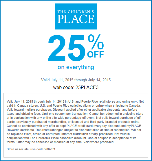 Childrens Place Coupon September 2018 25% off everything today at The Childrens Place, or online via promo code 25PLACE3