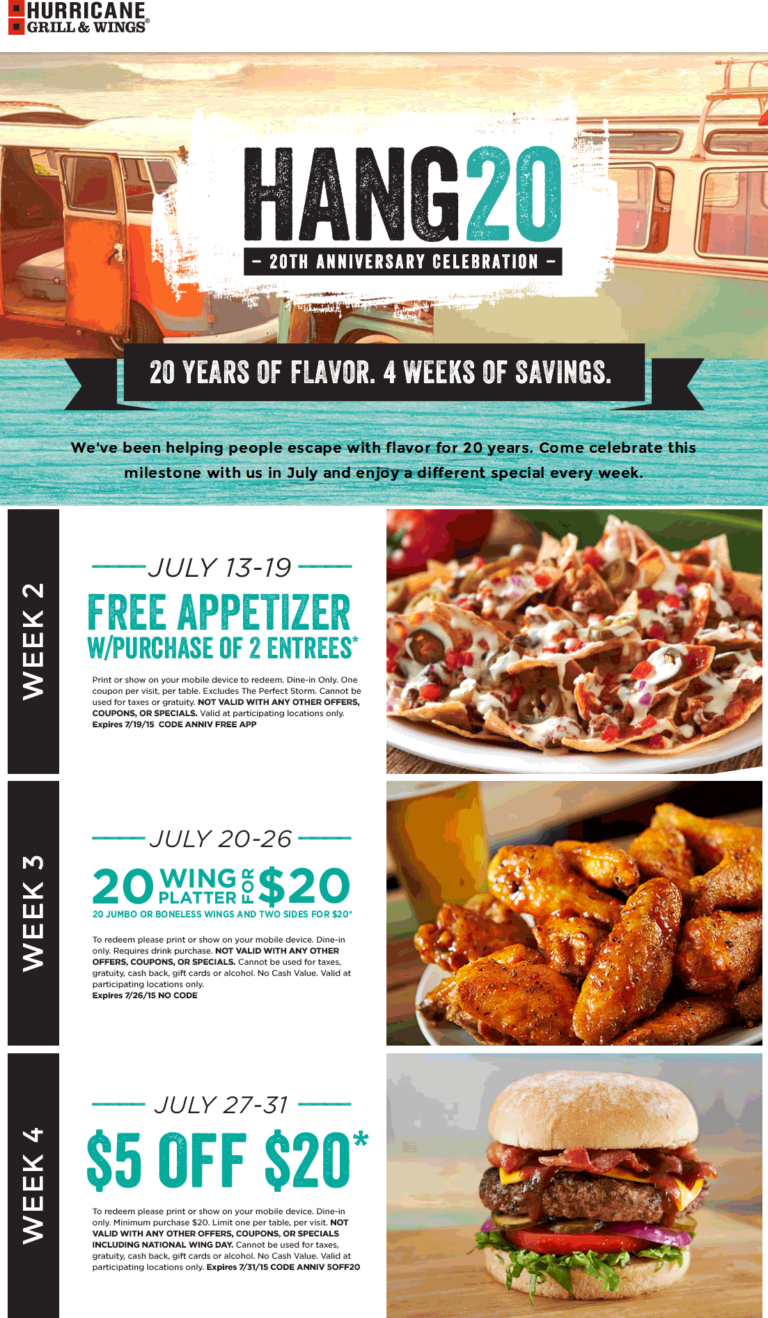 Hurricane Grill & Wings Coupon December 2017 Free appetizer & more at Hurricane Grill & Wings