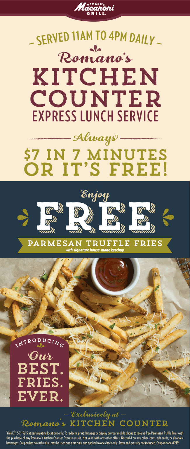 Macaroni Grill Coupon March 2018 Free parmesan truffle fries with your lunch entree at Macaroni Grill