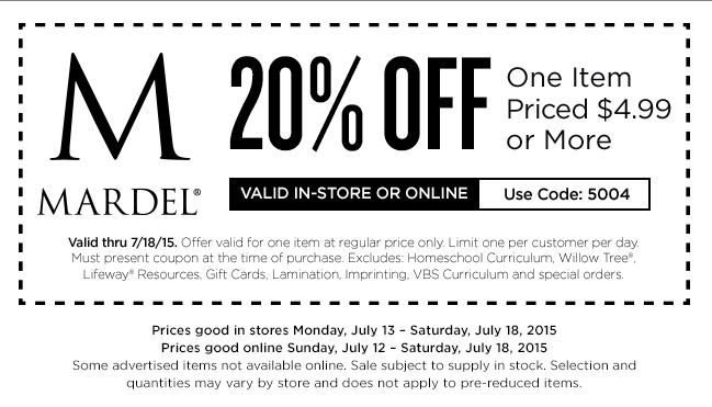 Mardel Coupon August 2017 20% off a single item at Mardel, or online via promo code 5004