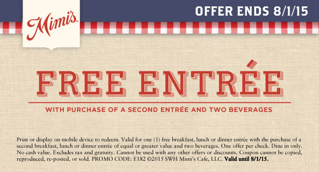 Mimis Cafe Coupon April 2018 Second entree free at Mimis Cafe