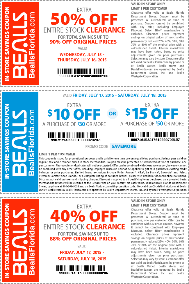 Bealls Coupon December 2017 50% off clearance, $10 off $30 & more at Bealls, or online via promo code SAVEMORE
