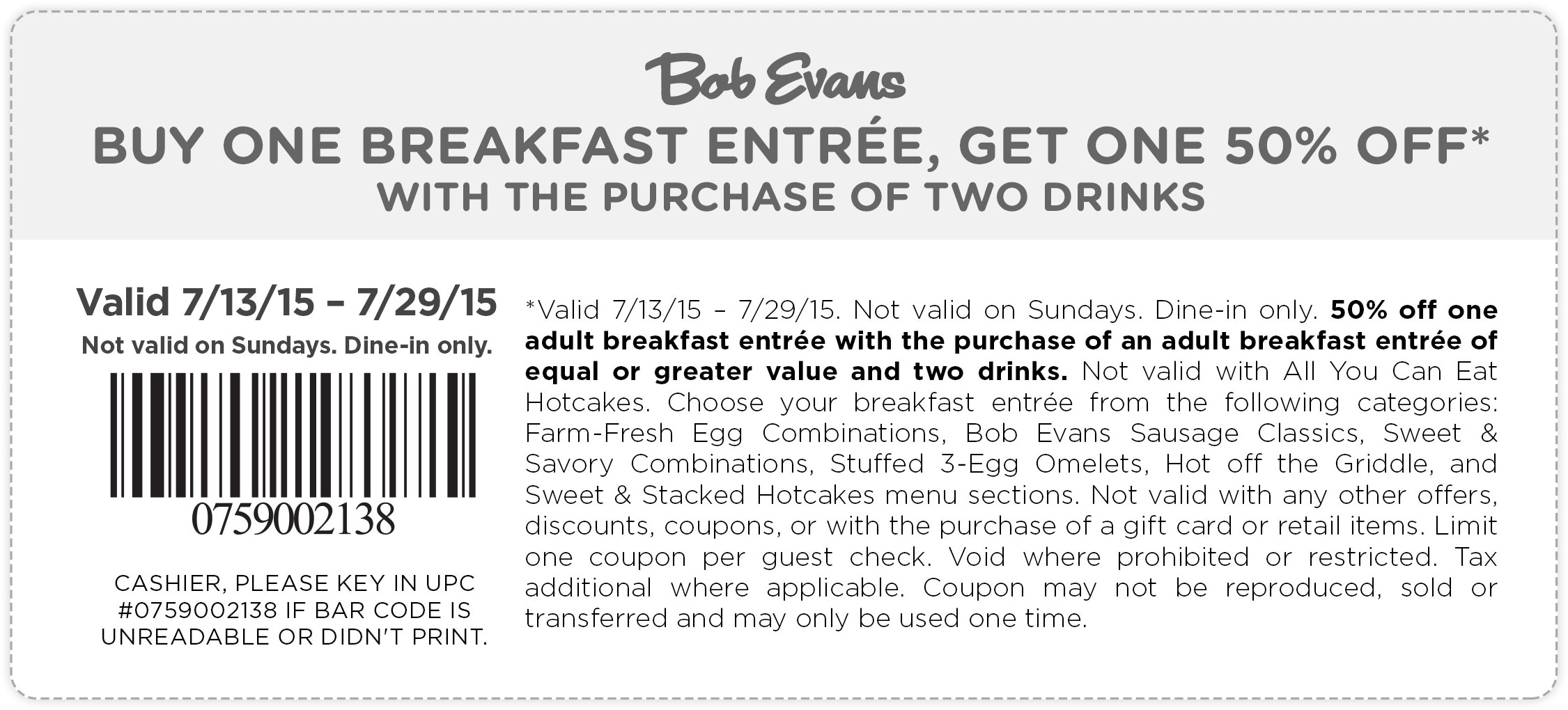 Bob Evans Coupon July 2017 Second breakfast entree 50% off at Bob Evans