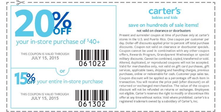 Carters Coupon January 2017 15-20% off today at Carters