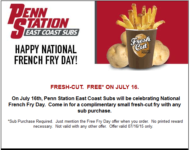 Penn Station Coupon May 2018 Free fries with your sub Thursday at Penn Station