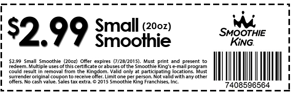 Smoothie King Coupon July 2017 20oz smoothie for $3 bucks at Smoothie King