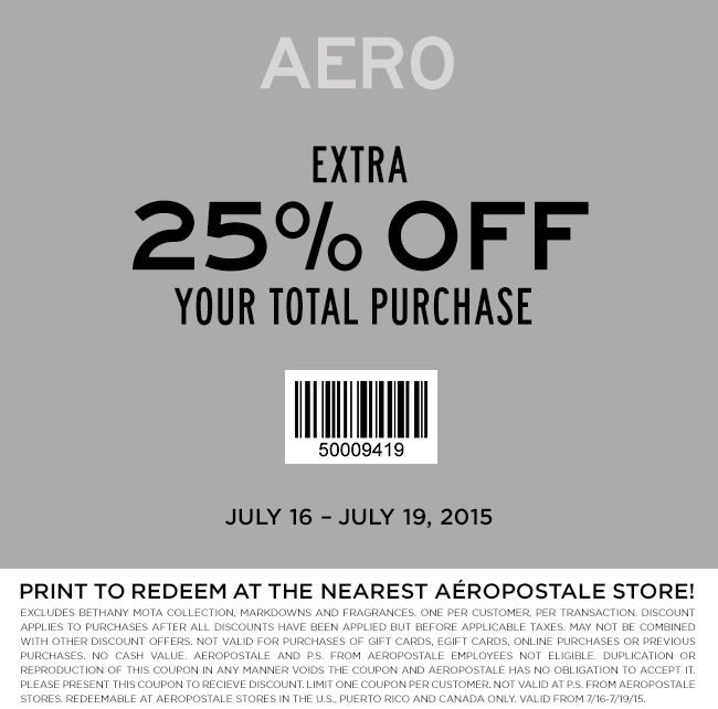Aeropostale Coupon June 2017 25% off at Aeropostale, or online via promo code 25OFF