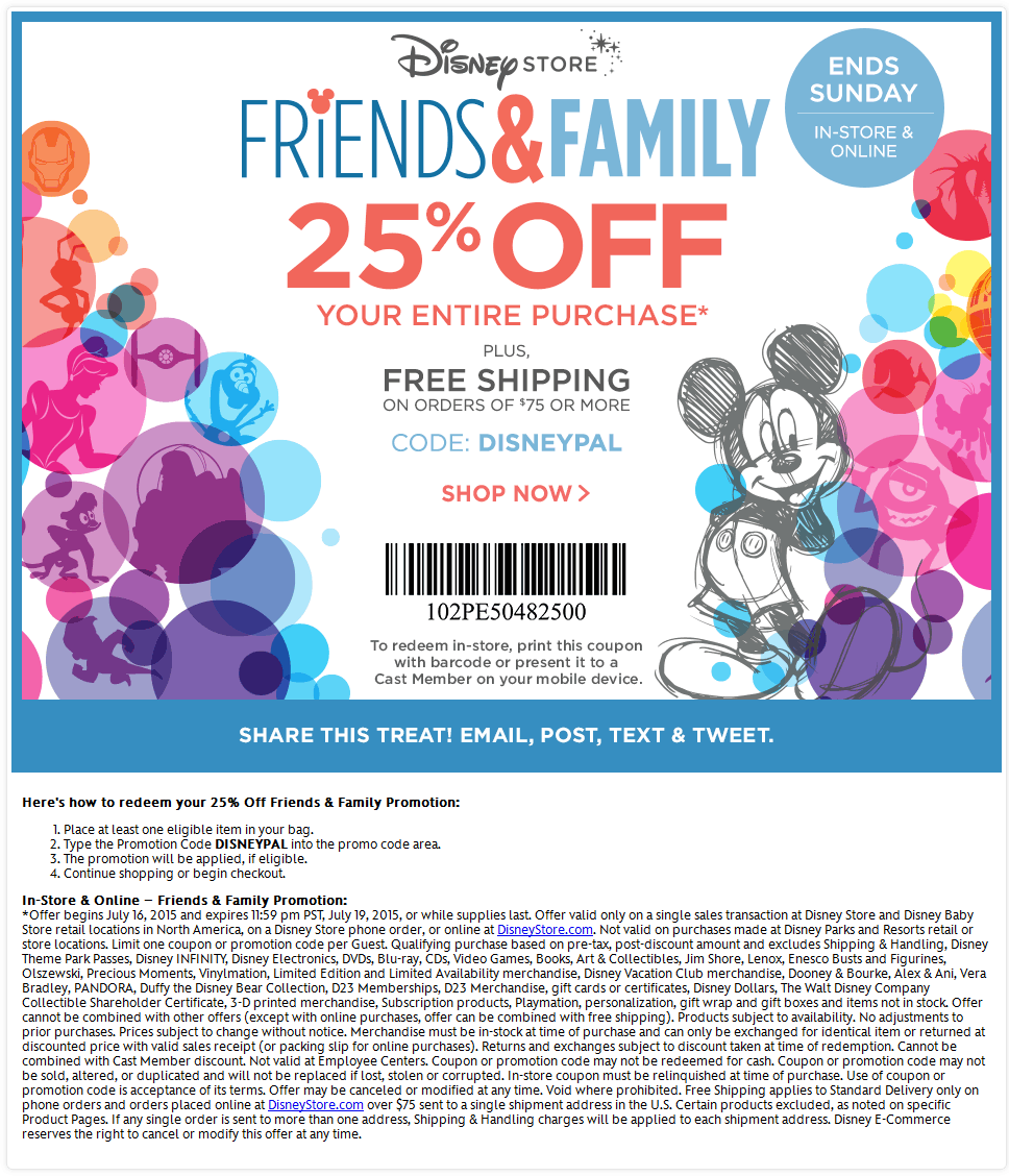 Disney Store Coupon July 2018 25% off at Disney Store, or online via promo code DISNEYPAL