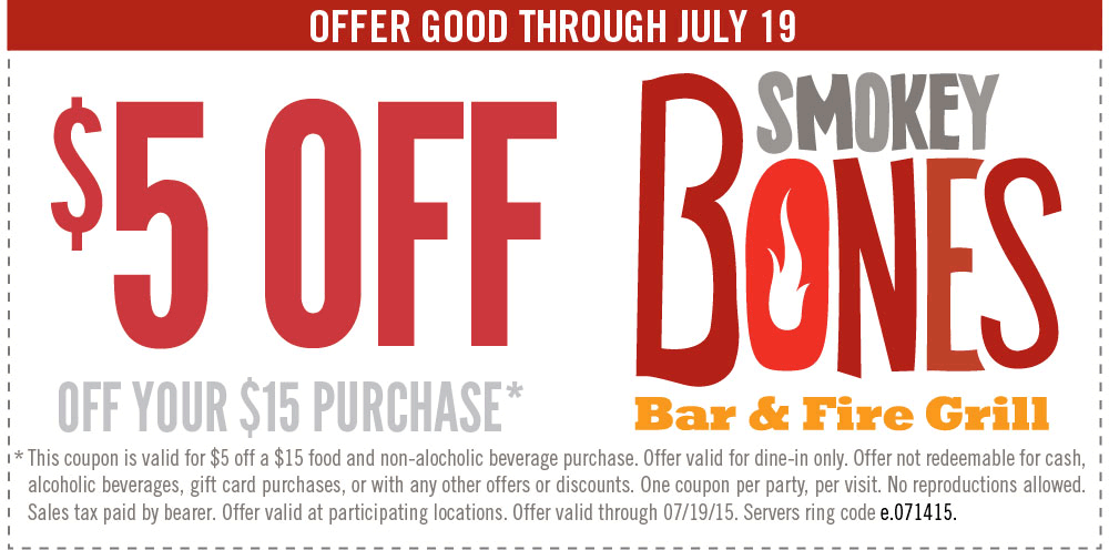 Smokey Bones Coupon July 2017 $5 off $15 at Smokey Bones bar & grill
