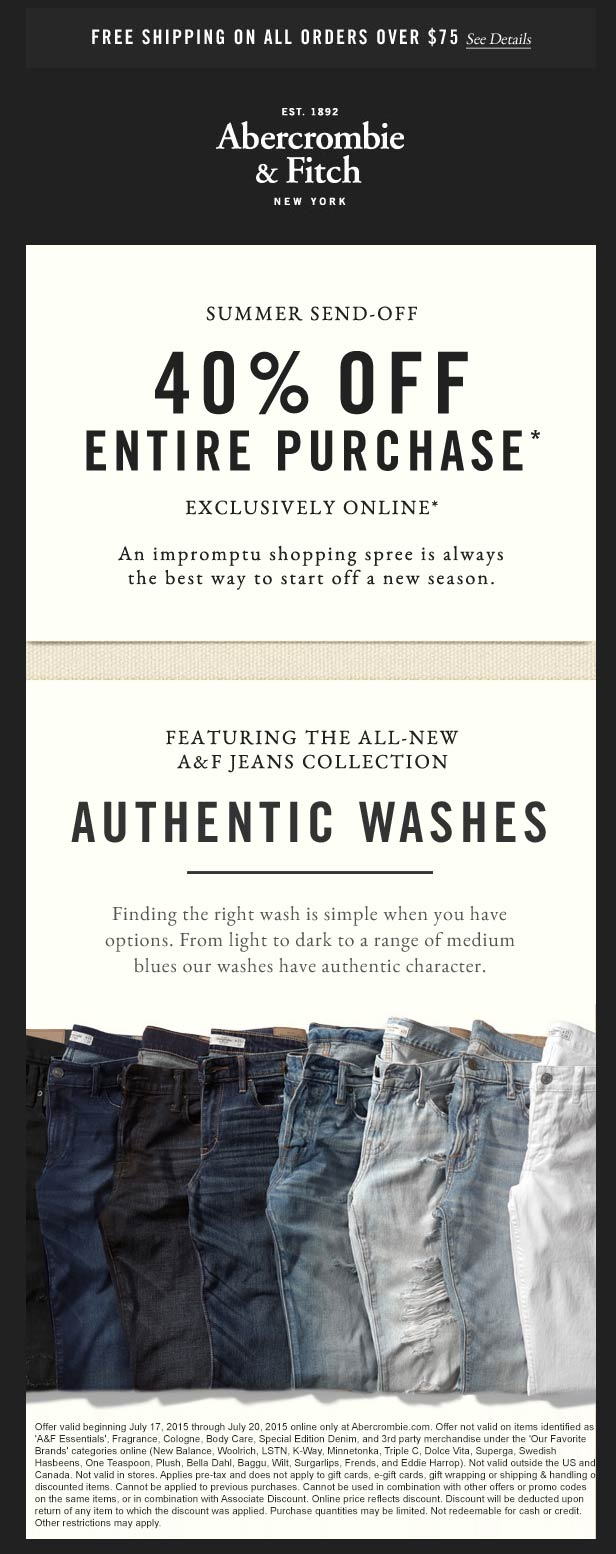 Abercrombie & Fitch Coupon July 2017 40% off everything online at Abercrombie & Fitch