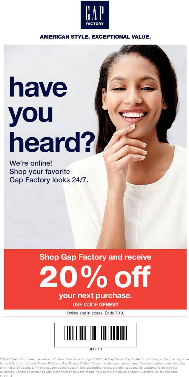 Gap Factory Coupon September 2017 20% off at Gap Factory locations, or online via promo code GFBEST