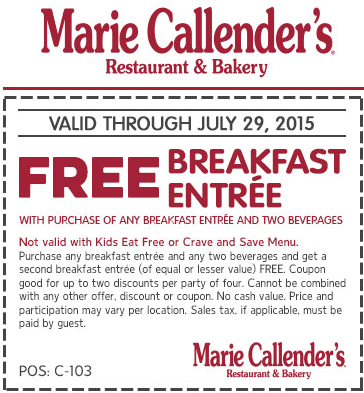 Marie Callenders Coupon August 2019 Second breakfast free at Marie Callenders restaurant & bakery
