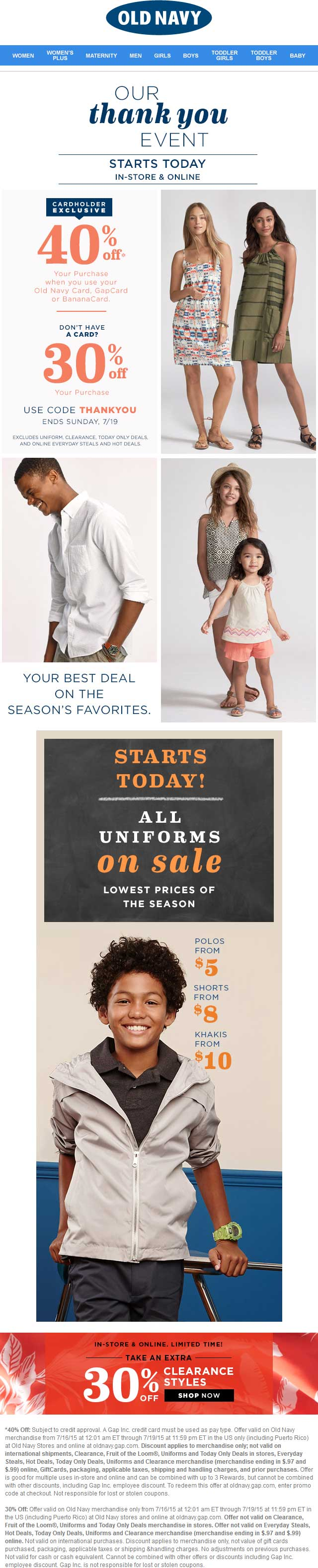 Old Navy Coupon August 2017 30% off at Old Navy, or online via promo code THANKYOU