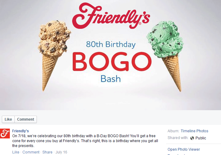 Friendlys Coupon September 2017 Second ice cream cone free today at Friendlys restaurants