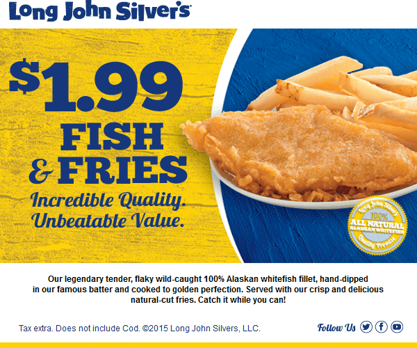 Long John Silvers Coupon February 2017 Alaskan whitefish filet & fries just $2 bucks at Long John Silvers