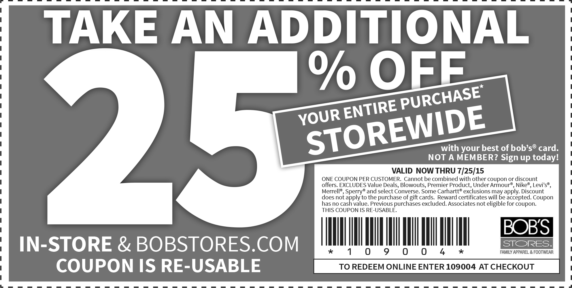 Bobs Stores Coupon February 2017 25% off everything at Bobs Stores, or online via promo code 109004