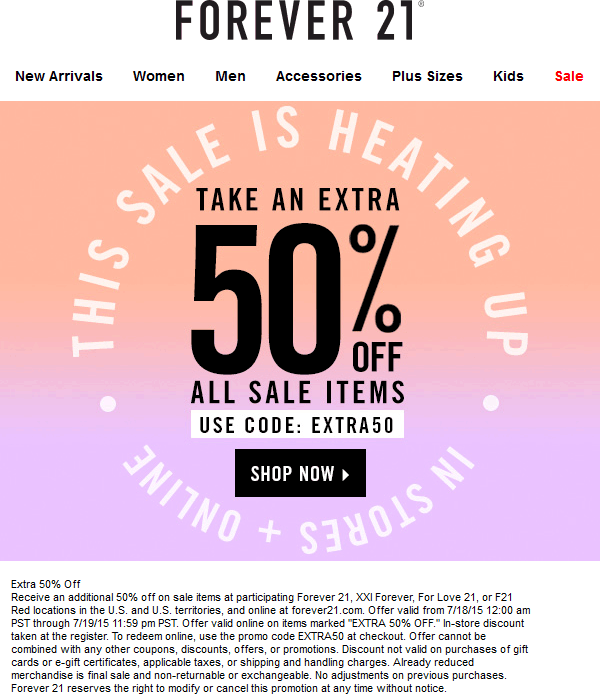 Forever 21 Coupon August 2017 Extra 50% off sale items at Forever 21, XXI Forever, For Love 21 & F21 Red, or online via promo code EXTRA50