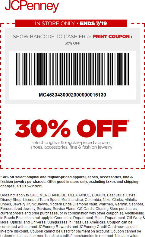 JCPenney Coupon March 2017 30% off today at JCPenney