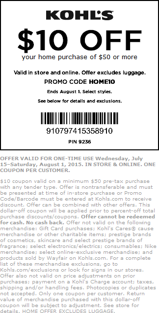 Kohls Coupon December 2016 $10 off $50 on homegoods at Kohls, or online via promo code HOME10