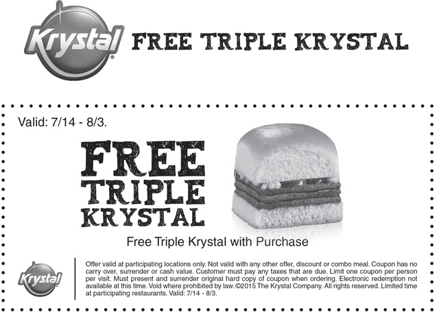 Krystal Coupon February 2018 Free triple burger with any order at Krystal