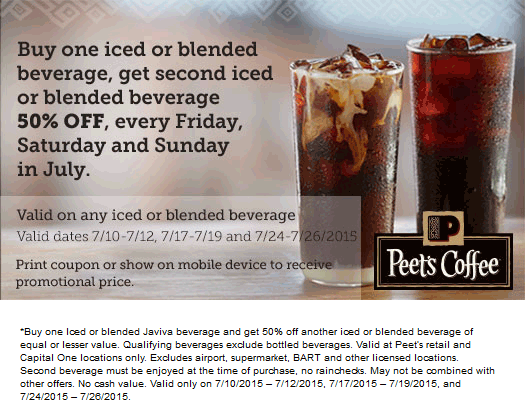Peets Coffee & Tea Coupon June 2017 Second iced beverage 50% off Fri-Sun at Peets Coffee & Tea