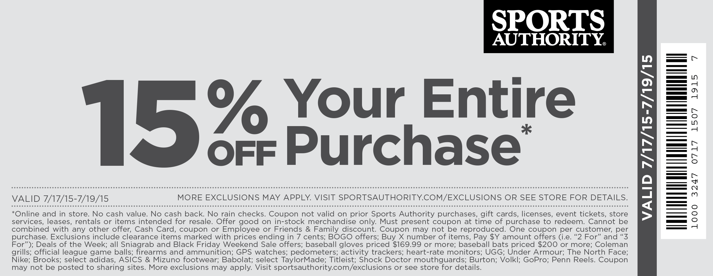 Sports Authority Coupon September 2017 15% off today at Sports Authority, ditto online