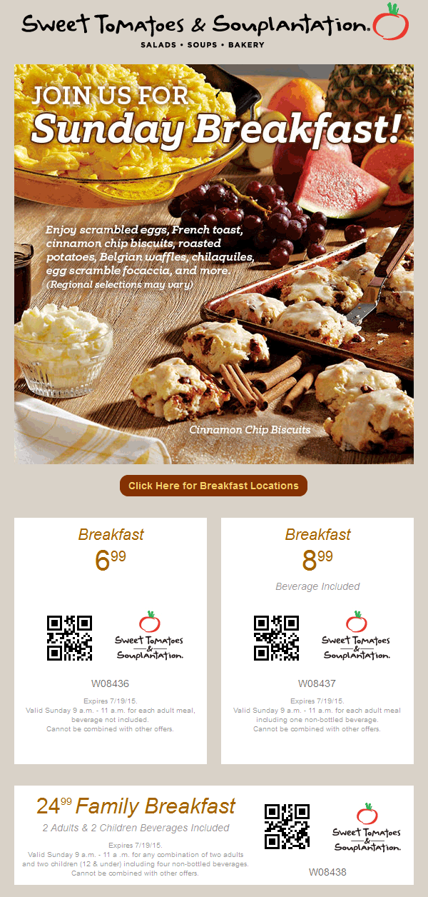 Sweet Tomatoes Coupon April 2019 $7 breakfast buffet today at Souplantation & Sweet Tomatoes
