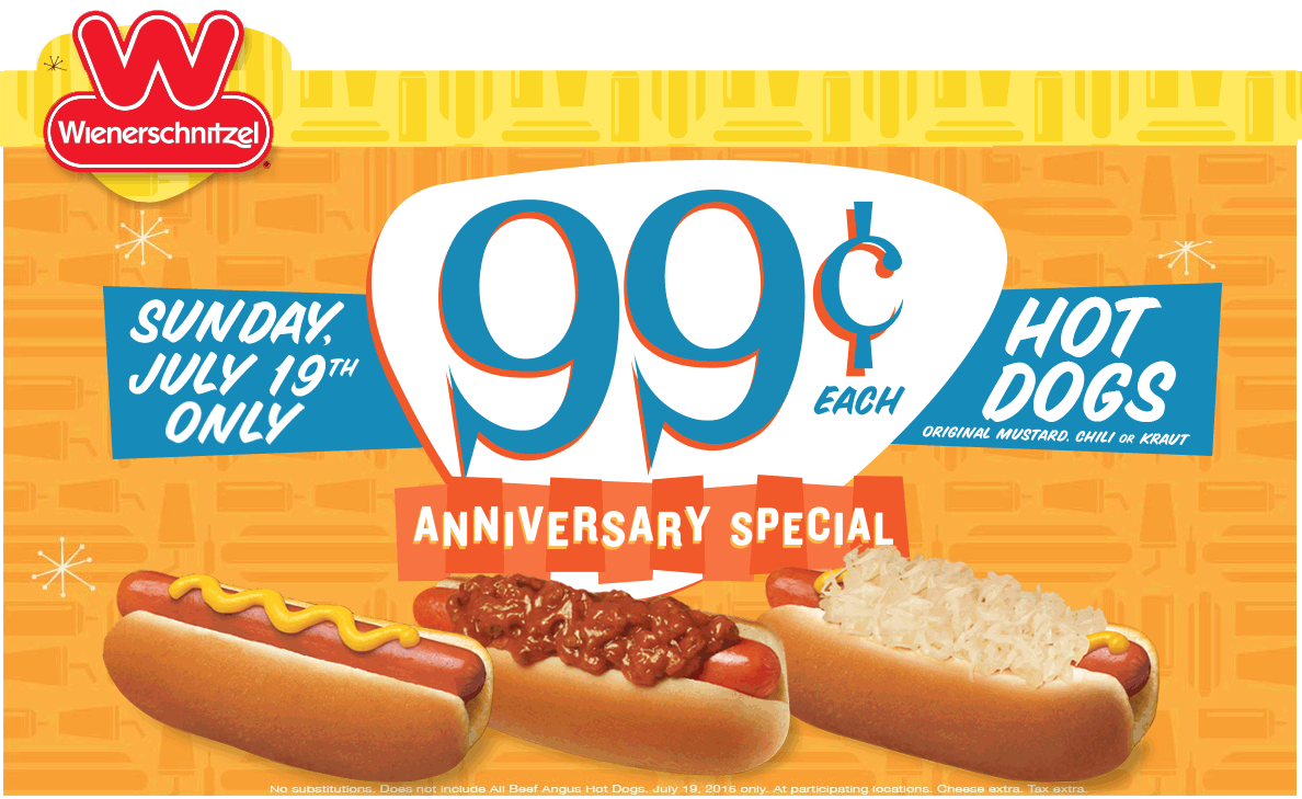 Wienerschnitzel Coupon July 2017 Hot dogs for $1 buck today at Wienerschnitzel