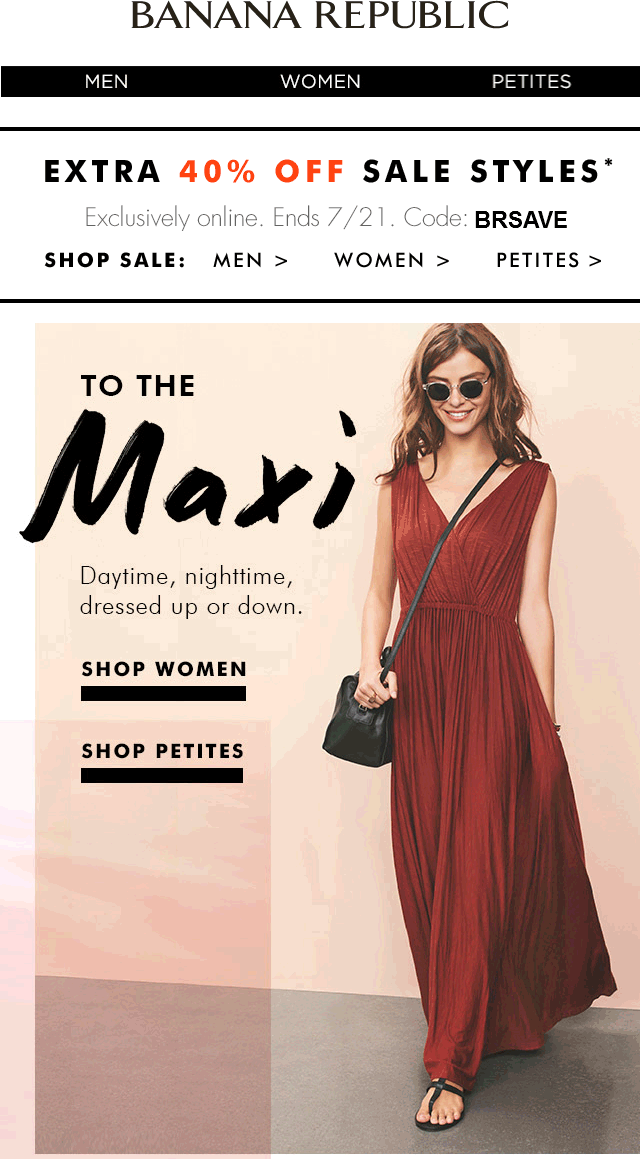 Banana Republic Coupon September 2019 Extra 40% off sale items online at Banana Republic via promo code BRSAVE