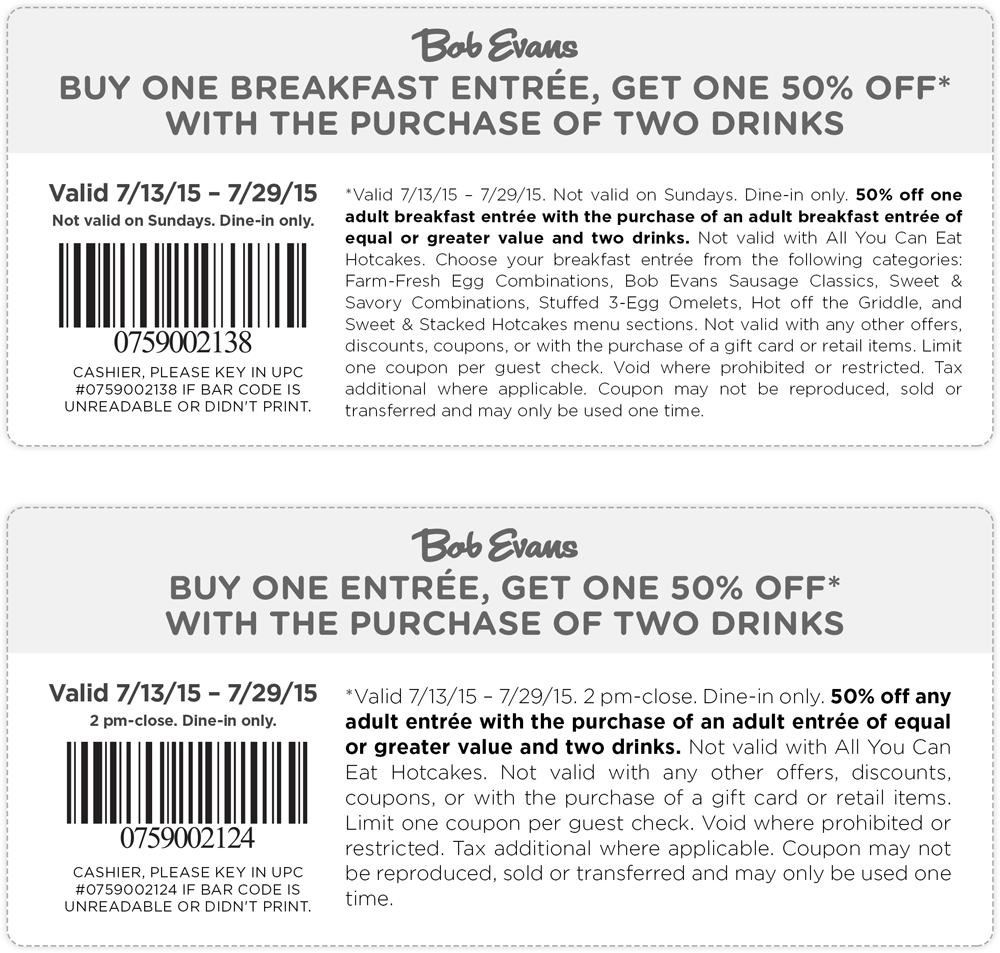 Bob Evans Coupon January 2017 Second entree 50% off at Bob Evans restaurants