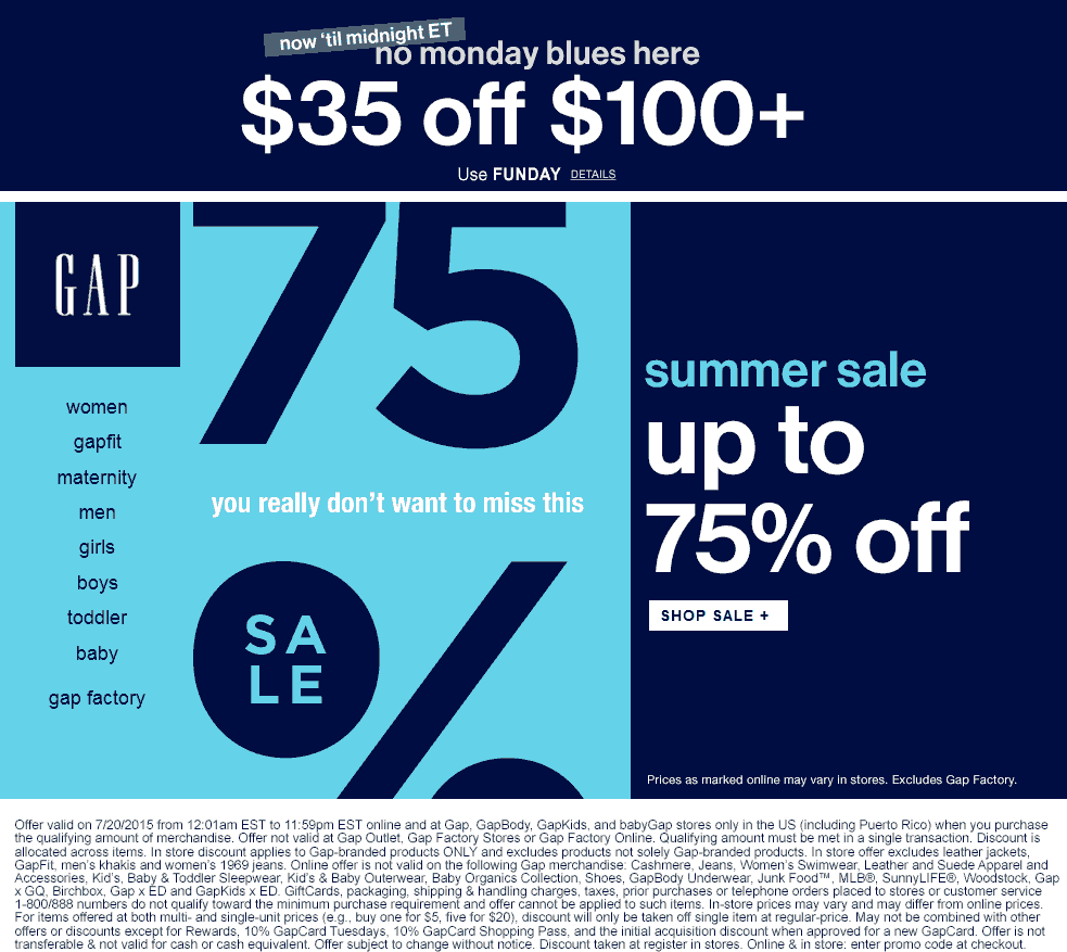 Gap Coupon February 2018 $35 off $100 today at Gap, GapBody, GapKids, & babyGap, or online via promo code FUNDAY