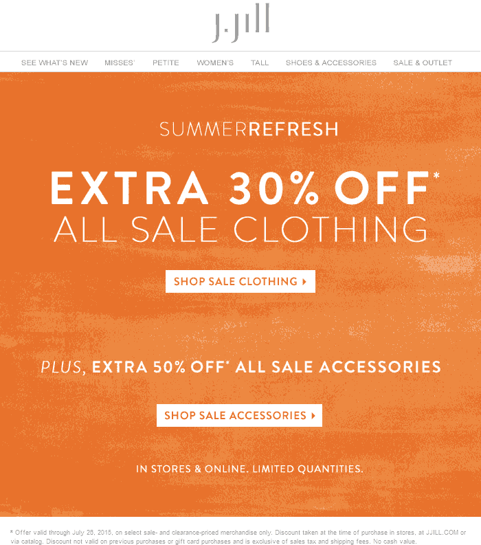 J.Jill Coupon July 2018 Extra 30% off sale clothing at J.Jill, ditto online - 50% off accessories
