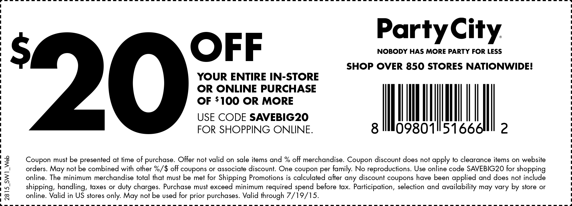 Party City Coupon December 2016 $20 off $100 at Party City, or online via promo code SAVEBIG20