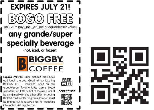 Biggby Coffee Coupon March 2017 Second drink free today at Biggby Coffee