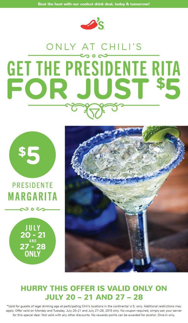 Chilis Coupon December 2018 Presidente margarita just $5 bucks the 21st, 27-28th at Chilis
