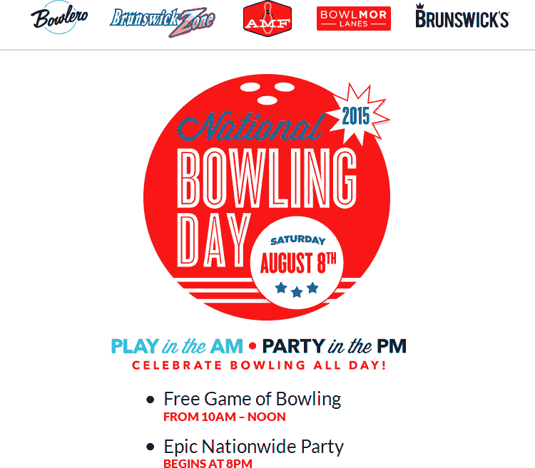 AMF Coupon March 2017 Free game of bowling the 8th at Brunswick, AMF, Bowlmor Lanes & Bowlero