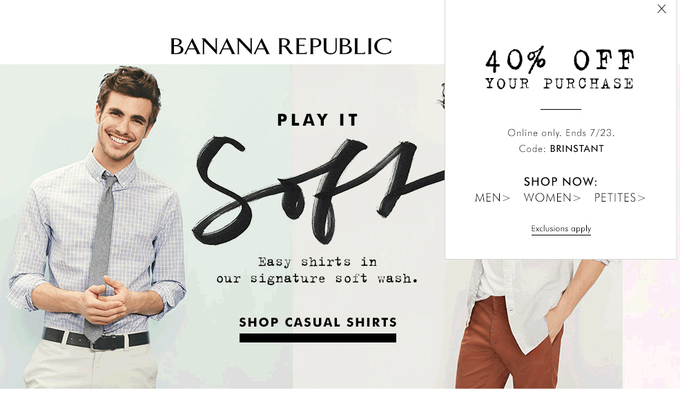 Banana Republic Coupon August 2018 40% off online at Banana Republic via promo code BRINSTANT