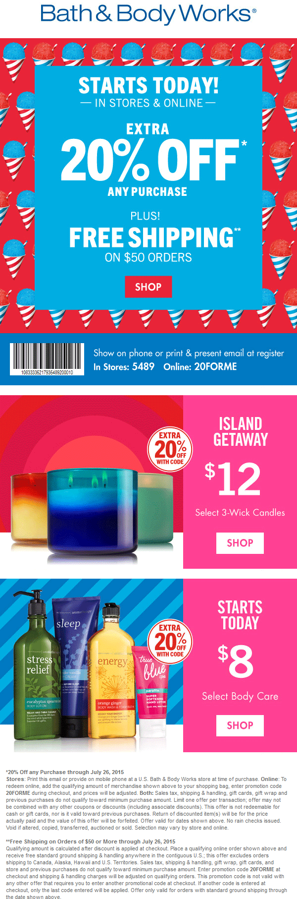Bath & Body Works Coupon October 2016 20% off at Bath & Body Works, or online via promo code 20FORME