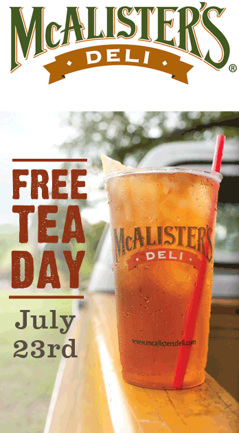 McAlisters Deli Coupon September 2017 Free tea Thursday at McAlisters Deli