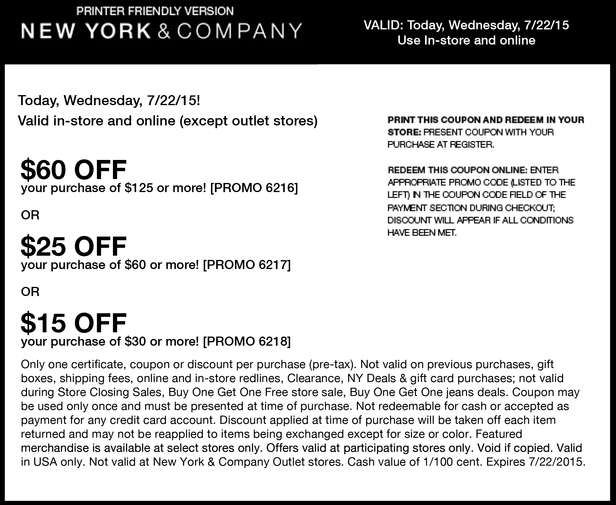 New York & Company Coupon April 2017 $15 off $30 & more at New York & Company, or online via promo code 6218