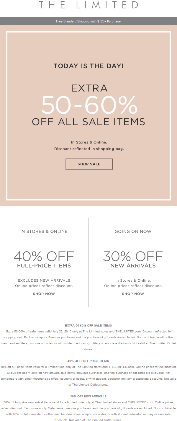 The Limited Coupon February 2019 40% off regular items + extra 50-60% off sale items at The Limited, ditto online
