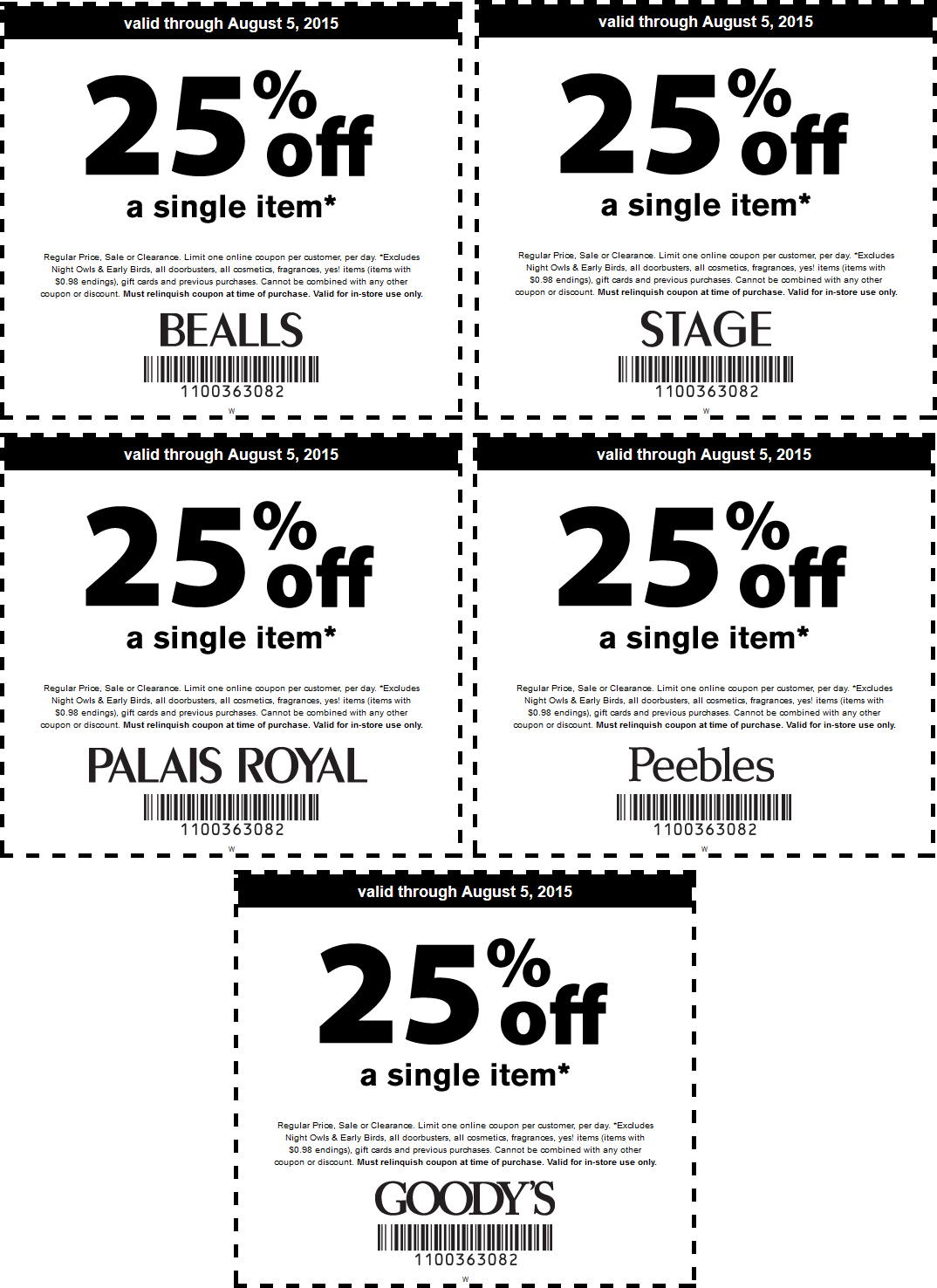 Bealls Coupon December 2017 25% off a single item at Goodys, Peebles, Palais Royal, Bealls & Stage Stores
