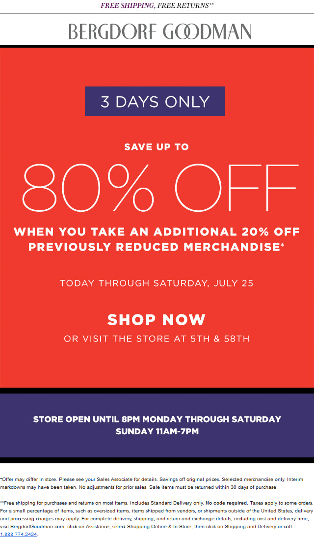 Bergdorf Goodman Coupon May 2018 Extra 20-80% off clearance at Bergdorf Goodman, ditto online