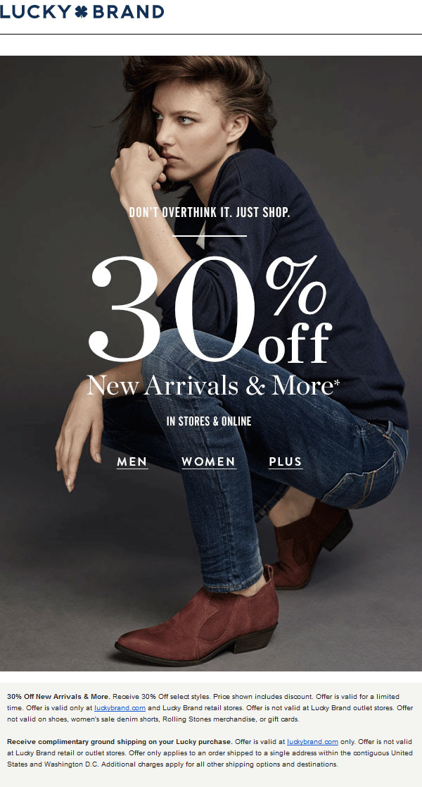Lucky Brand Coupon April 2018 30% off new arrivals at Lucky Brand, ditto online